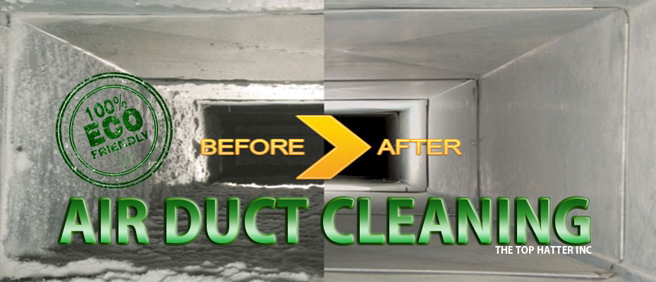 picture of a before and after air duct that has been cleaned with a title eco friendly air duct cleaning
